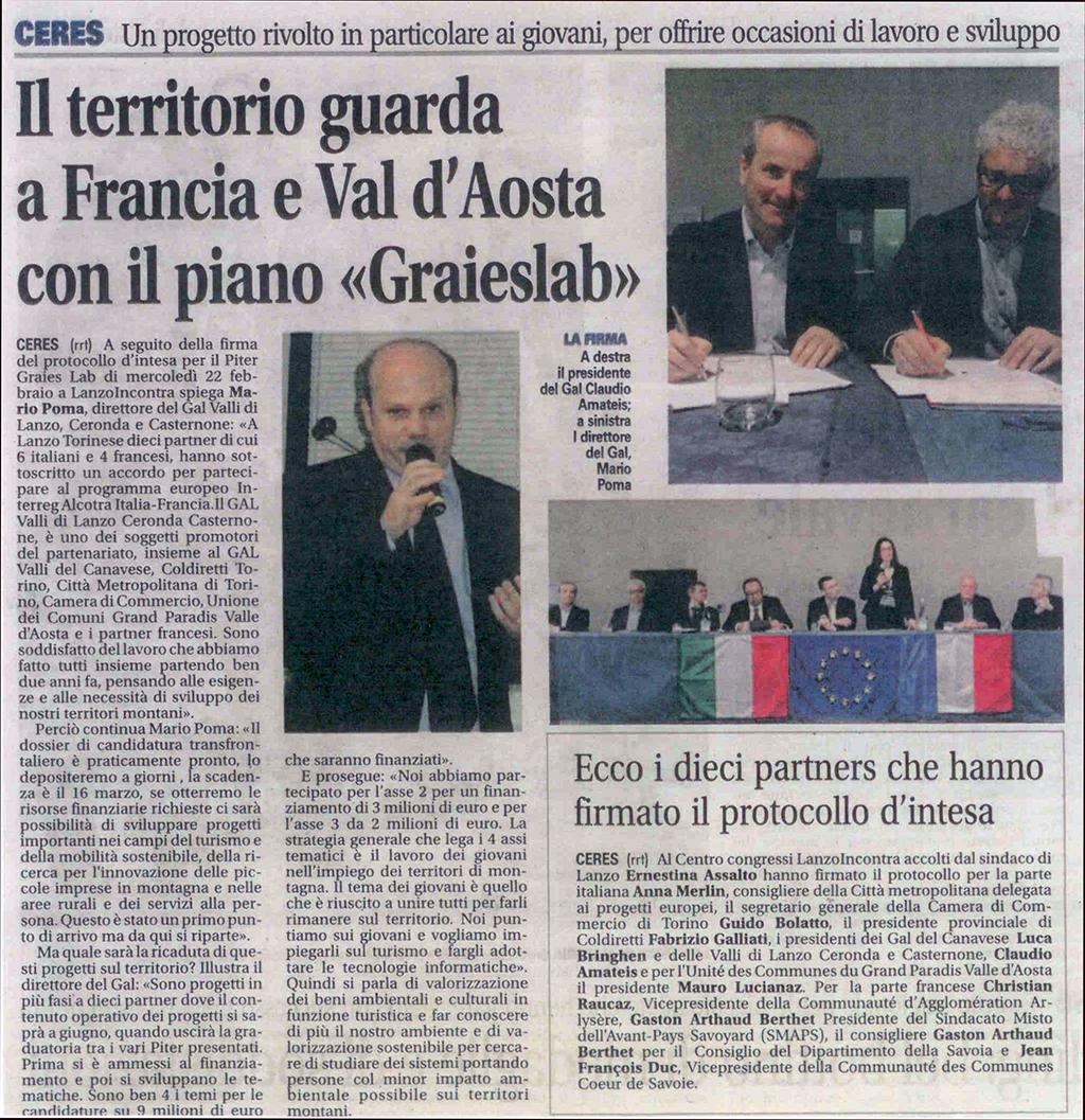 """Il territorio guarda a Francia e Val d'Aosta con il piano """"GraiesLab"""""""