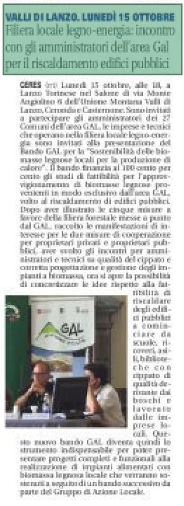 """Articolo del """"il Canavese"""" inerente alla filiera locale"""