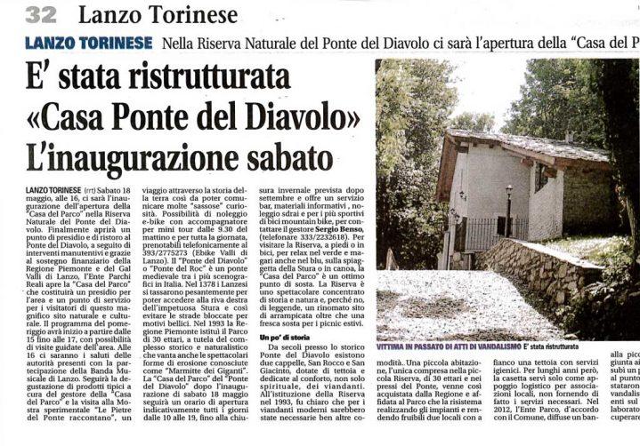 """Articolo pubblicato sul settimanale """"il Canavese"""" inerente alla ristrutturazione della Casa del Parco del Ponte del Diavolo"""