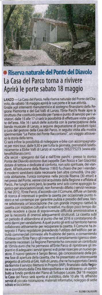 """Articolo pubblicato sul settimanale """"il Risveglio"""" inerente alla ristrutturazione della Casa del Parco del Ponte del Diavolo"""