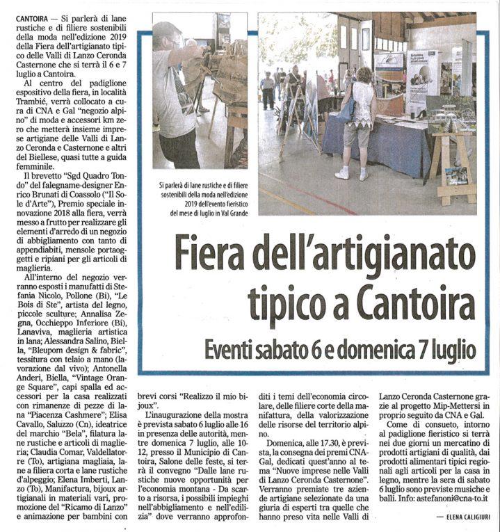 Articolo sul settimanale Il Risveglio inerente alla fiera dell'artigianato tipico di Cantoira