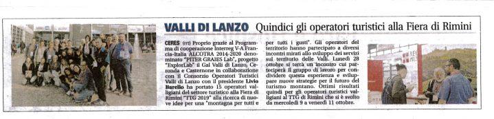 Articolo su il Canavese relativo agli operatori turistici alla fiera di Rimini