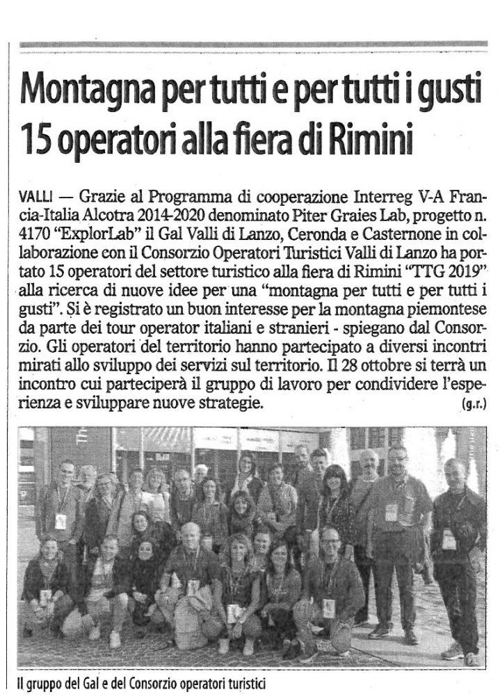 Articolo su Il Risveglio relativo agli operatori turistici alla fiera di Rimini